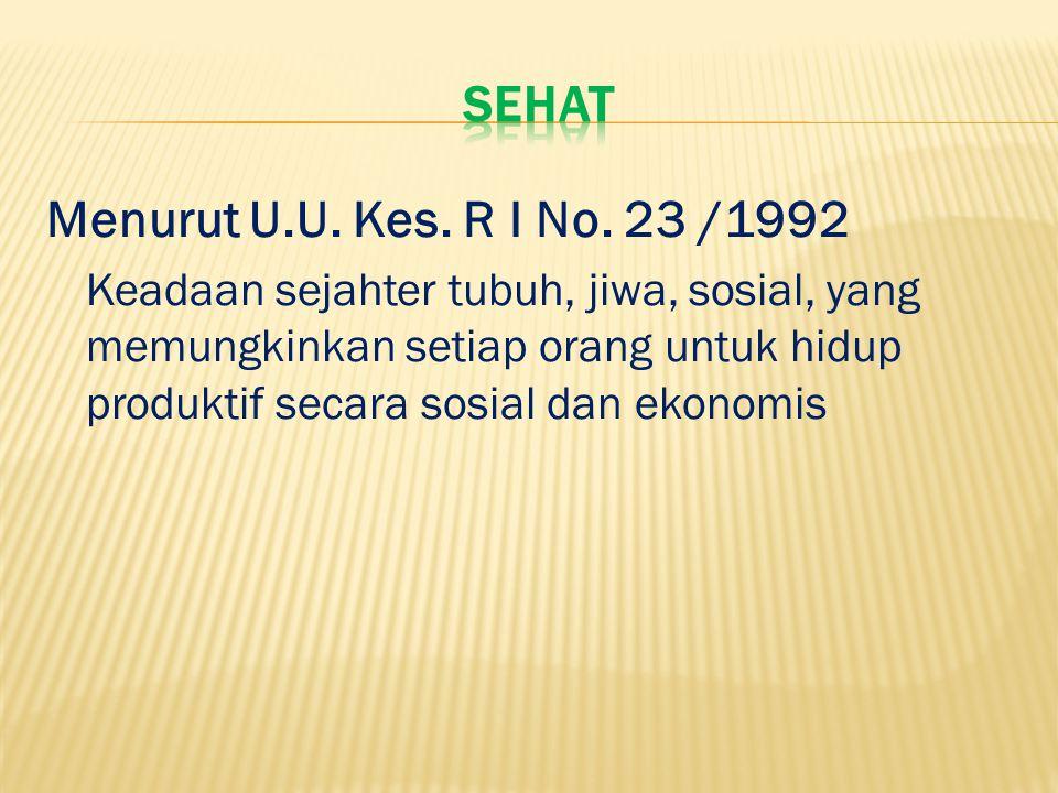 Sehat Menurut U.U. Kes. R I No. 23 /1992