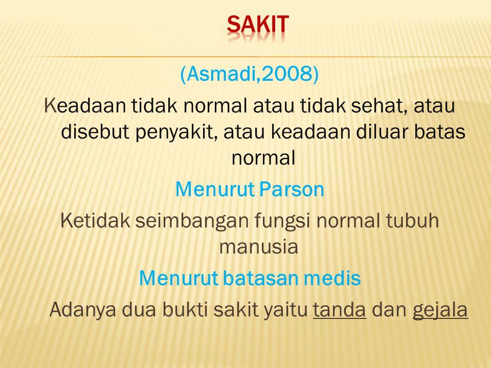 Sakit (Asmadi,2008) Keadaan tidak normal atau tidak sehat, atau disebut penyakit, atau keadaan diluar batas normal.
