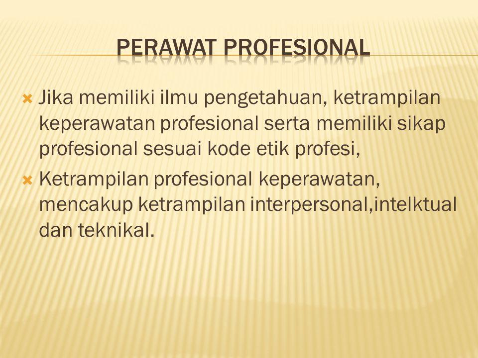 perawat profesional Jika memiliki ilmu pengetahuan, ketrampilan keperawatan profesional serta memiliki sikap profesional sesuai kode etik profesi,