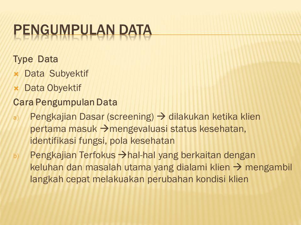 Pengumpulan Data Type Data Data Subyektif Data Obyektif