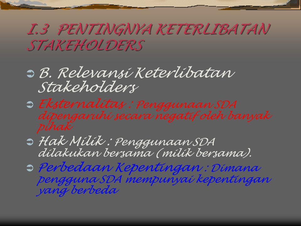 I.3 PENTINGNYA KETERLIBATAN STAKEHOLDERS