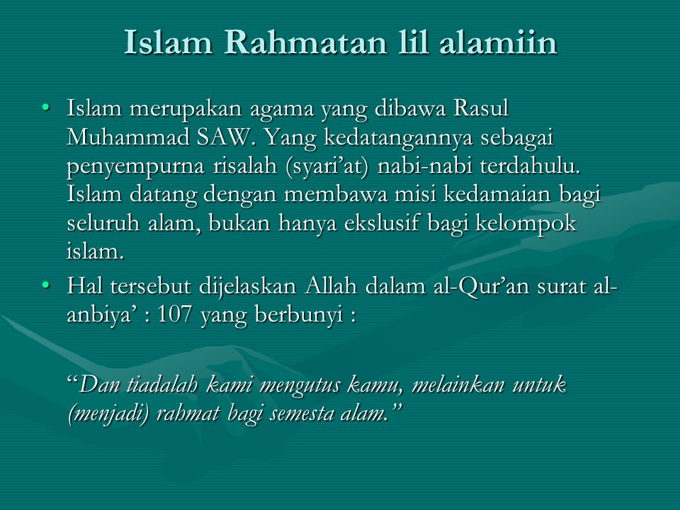 Islam Rahmatan lil alamiin