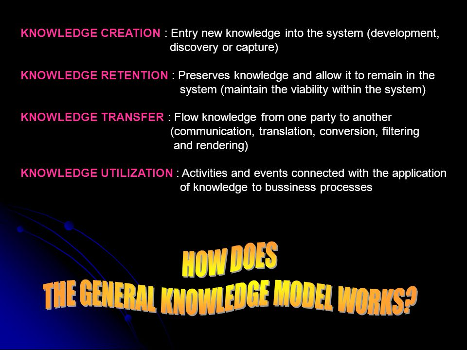 THE GENERAL KNOWLEDGE MODEL WORKS