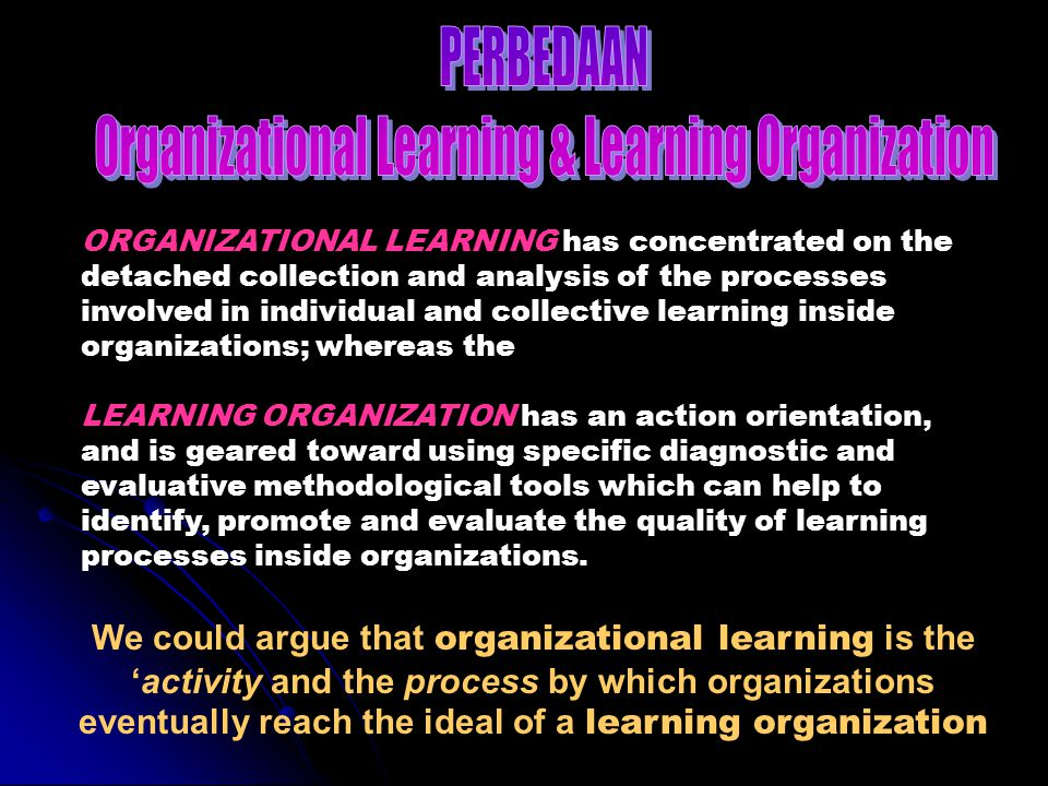 Organizational Learning & Learning Organization