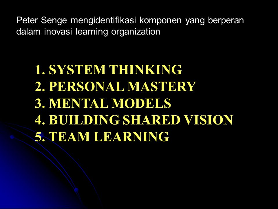 4. BUILDING SHARED VISION 5. TEAM LEARNING