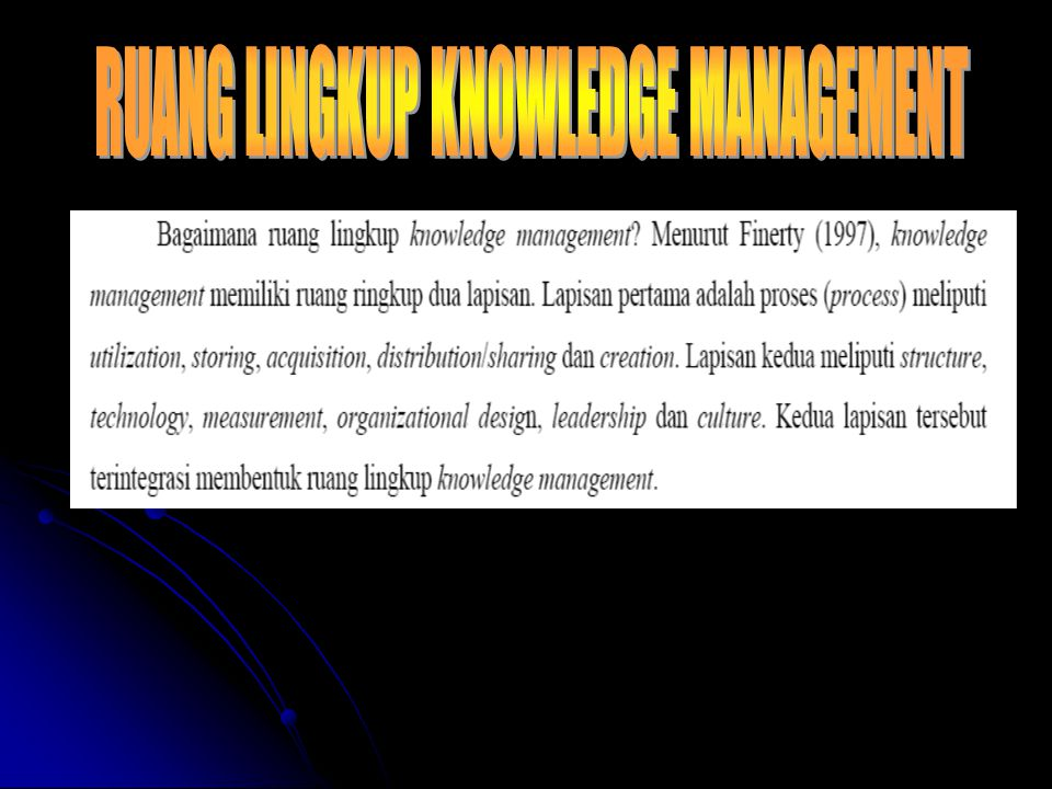 RUANG LINGKUP KNOWLEDGE MANAGEMENT