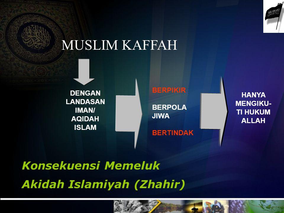 HANYA MENGIKU-TI HUKUM ALLAH DENGAN LANDASAN IMAN/ AQIDAH ISLAM