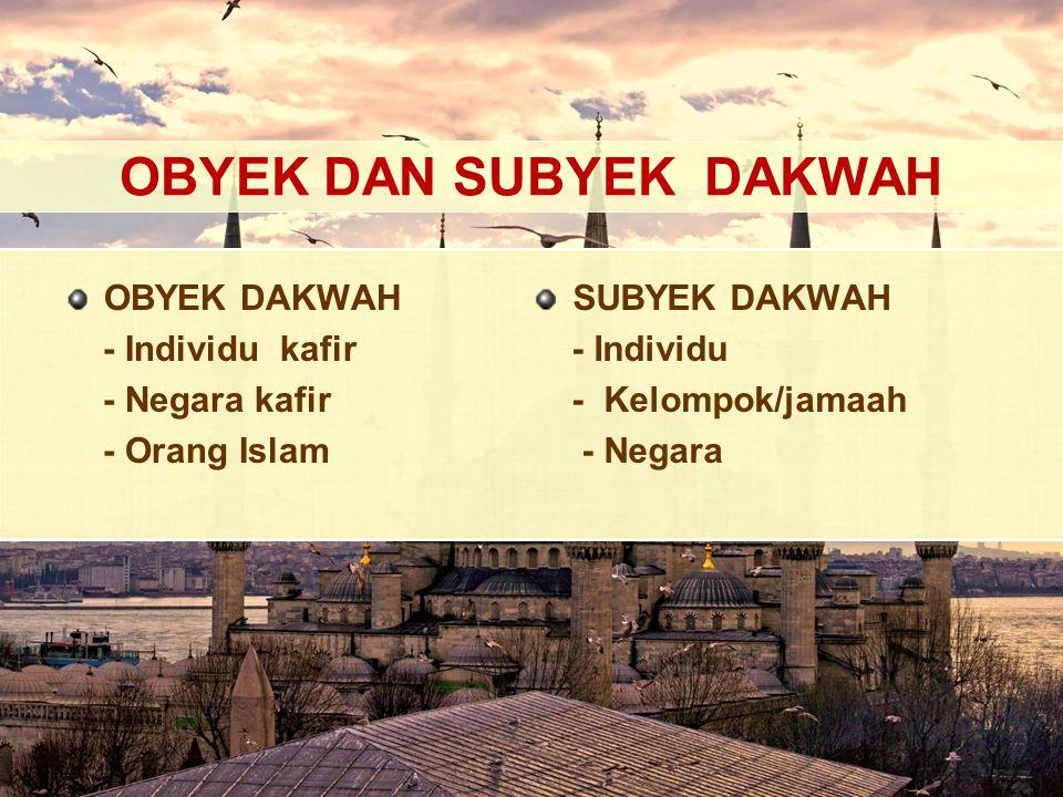 OBYEK DAN SUBYEK DAKWAH