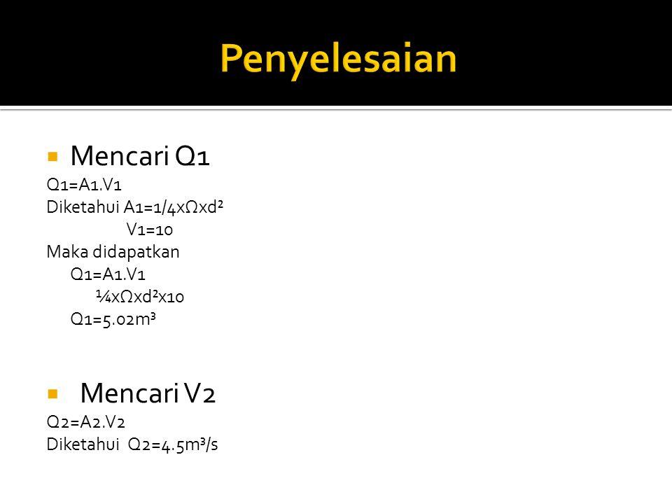 Penyelesaian Mencari Q1 Mencari V2 Q1=A1.V1 Diketahui A1=1/4xΩxd²