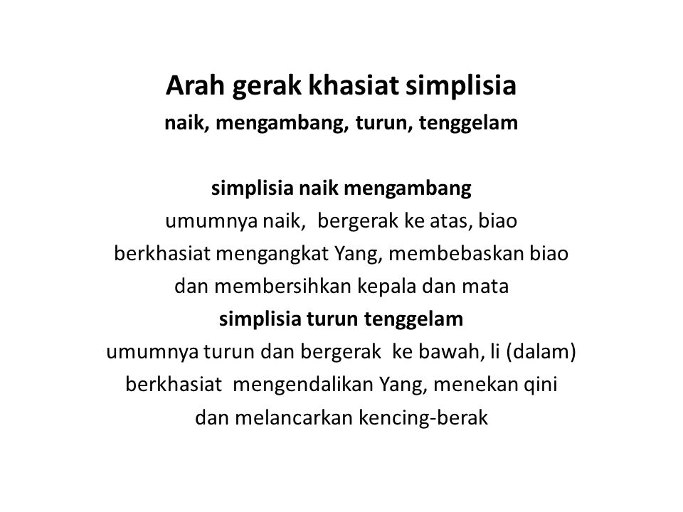 Arah gerak khasiat simplisia