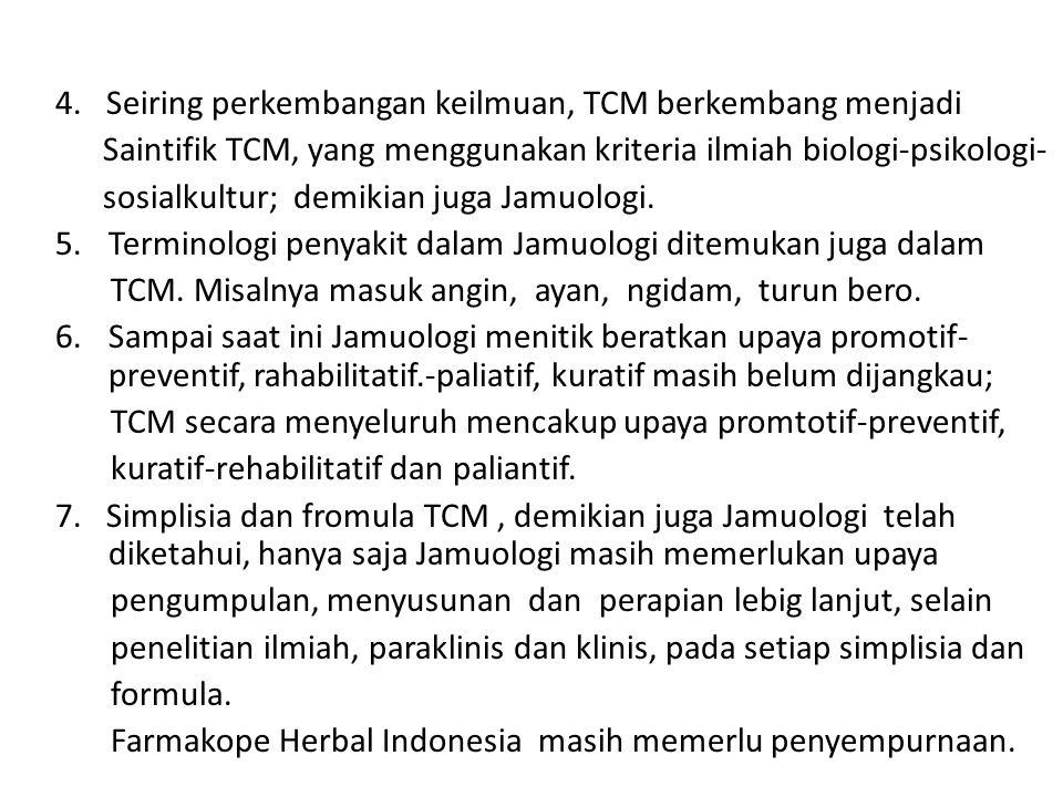 4. Seiring perkembangan keilmuan, TCM berkembang menjadi