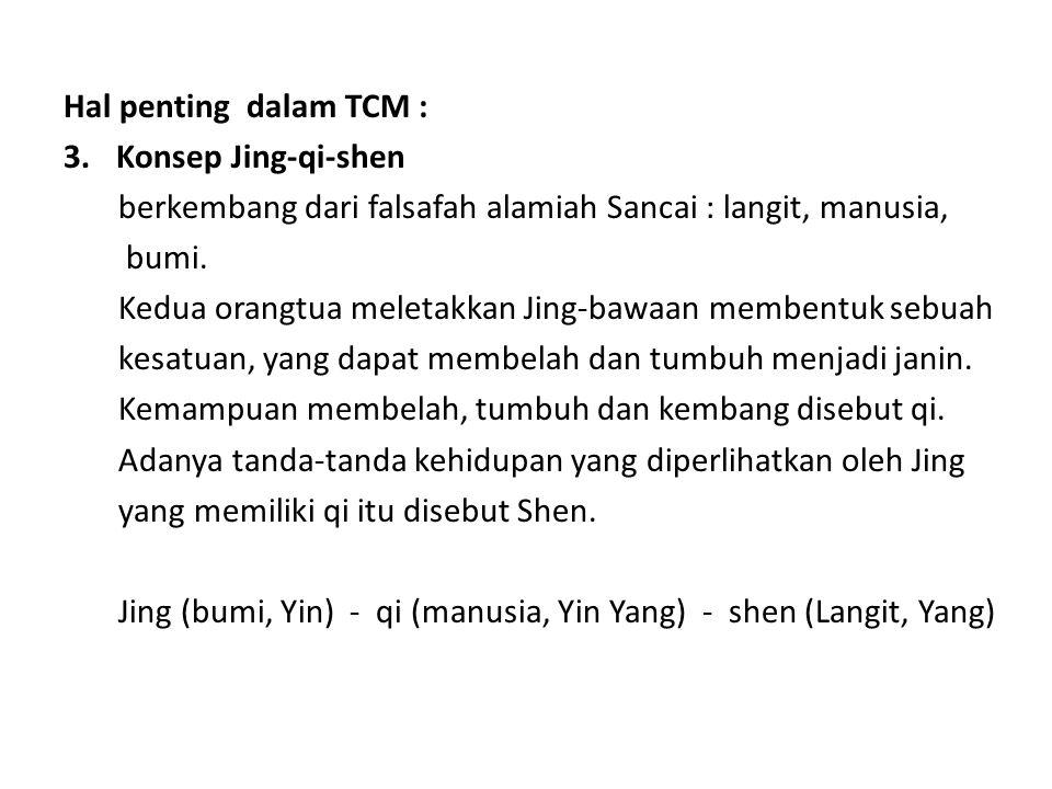 Hal penting dalam TCM : Konsep Jing-qi-shen. berkembang dari falsafah alamiah Sancai : langit, manusia,