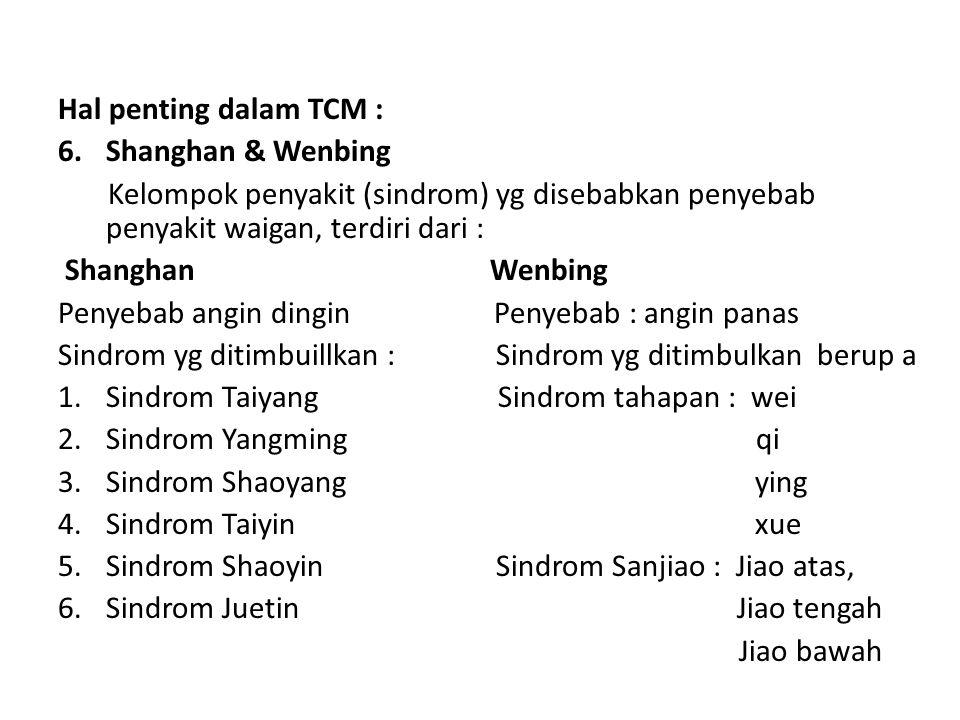 Hal penting dalam TCM : Shanghan & Wenbing. Kelompok penyakit (sindrom) yg disebabkan penyebab penyakit waigan, terdiri dari :
