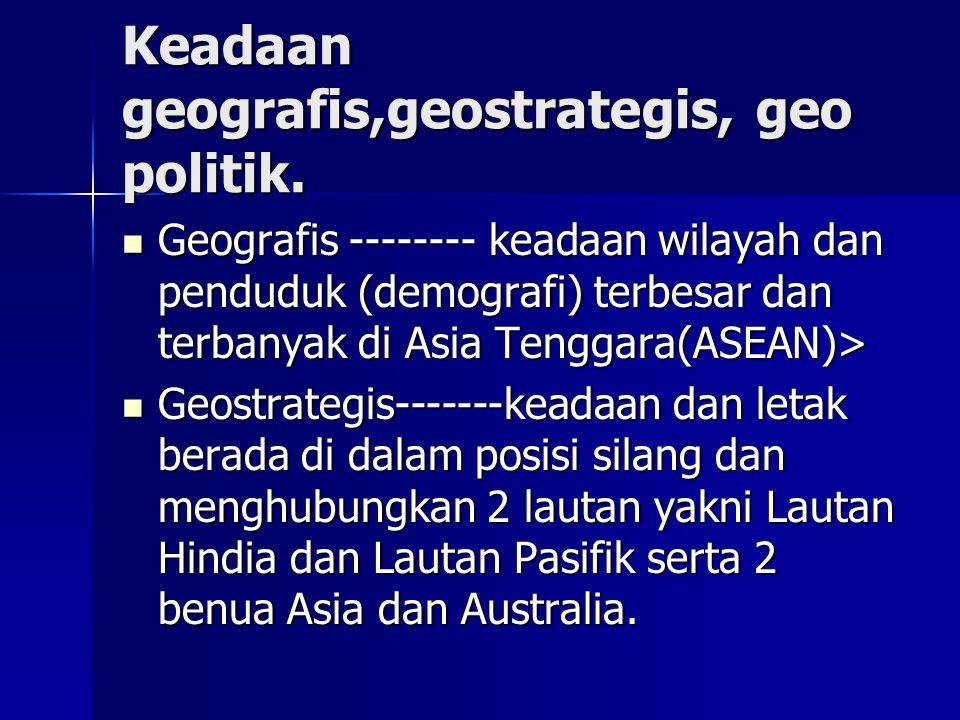 Keadaan geografis,geostrategis, geo politik.