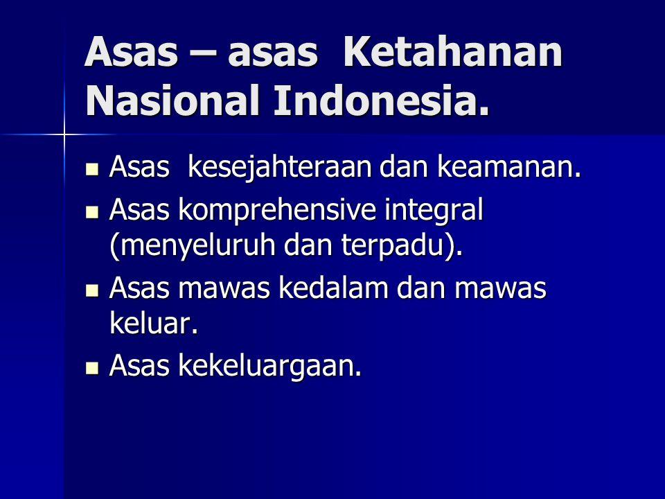 Asas – asas Ketahanan Nasional Indonesia.