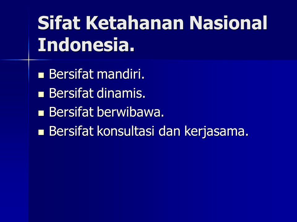 Sifat Ketahanan Nasional Indonesia.