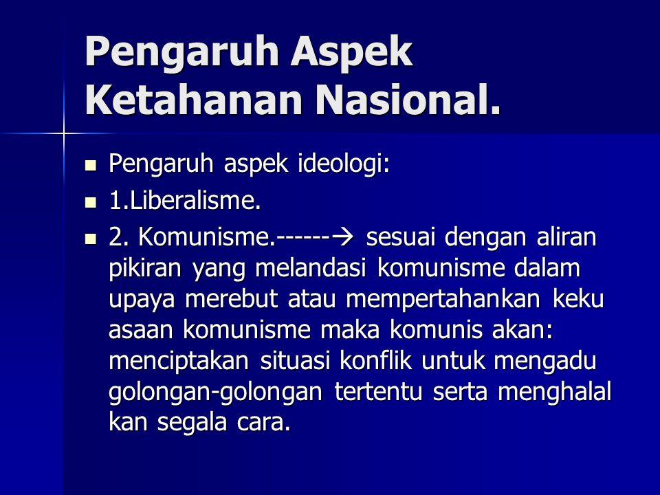 Pengaruh Aspek Ketahanan Nasional.
