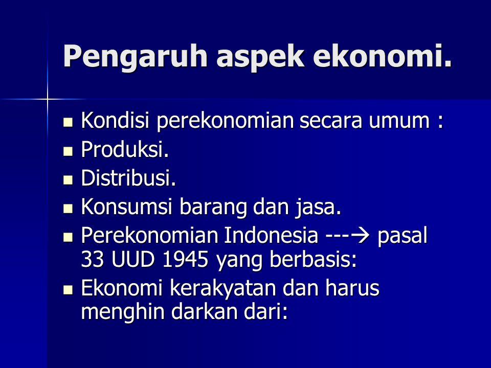 Pengaruh aspek ekonomi.