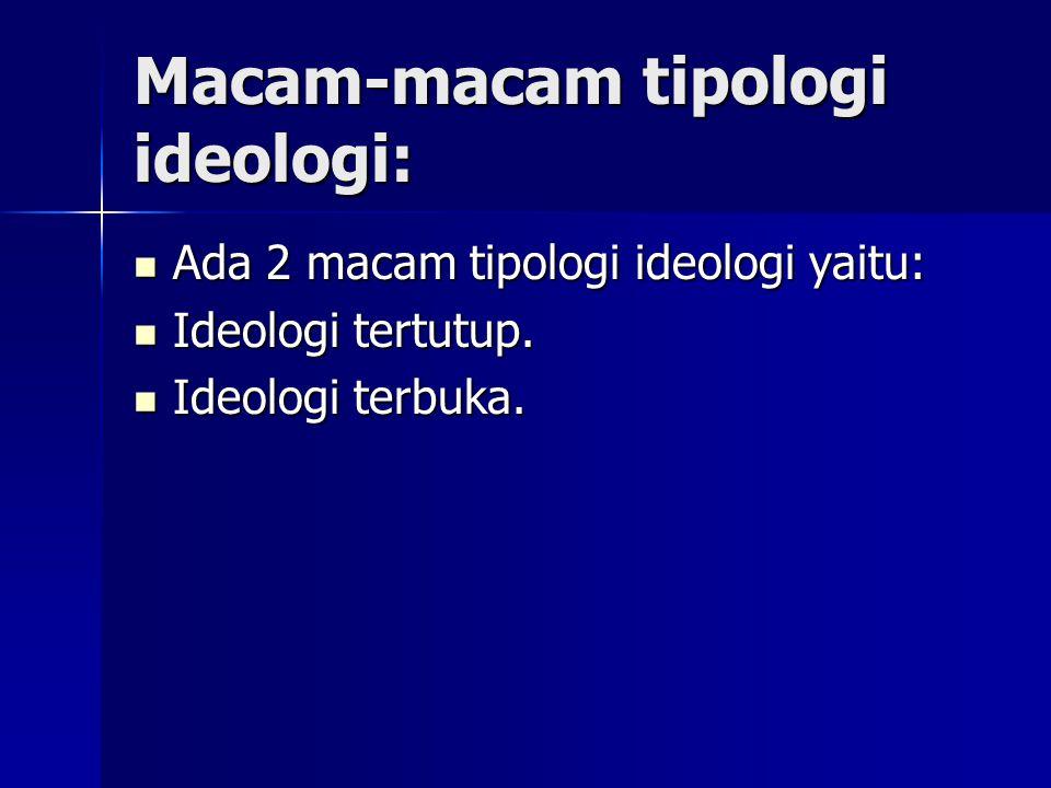 Macam-macam tipologi ideologi: