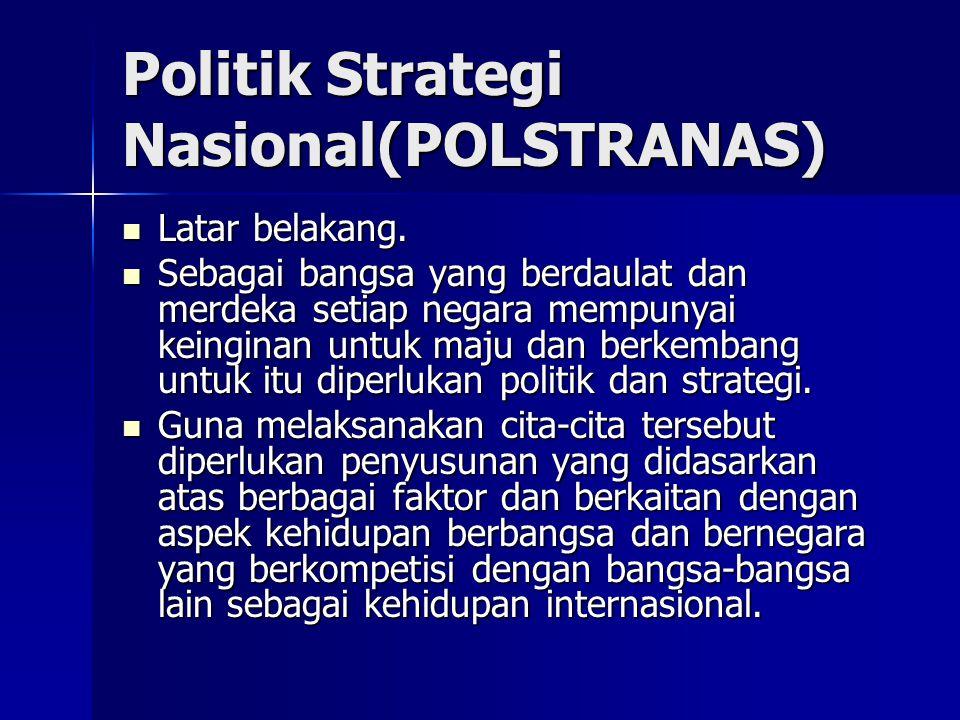 Politik Strategi Nasional(POLSTRANAS)