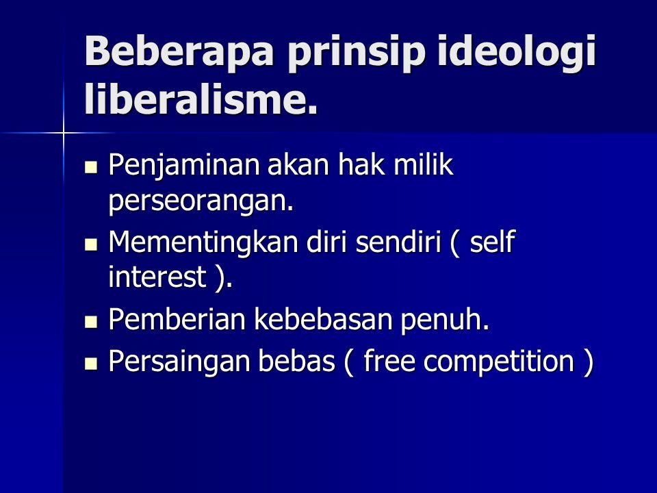 Beberapa prinsip ideologi liberalisme.