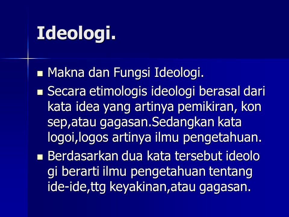 Ideologi. Makna dan Fungsi Ideologi.