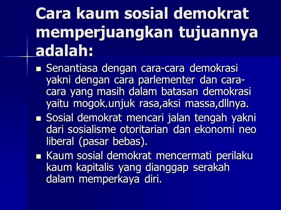 Cara kaum sosial demokrat memperjuangkan tujuannya adalah: