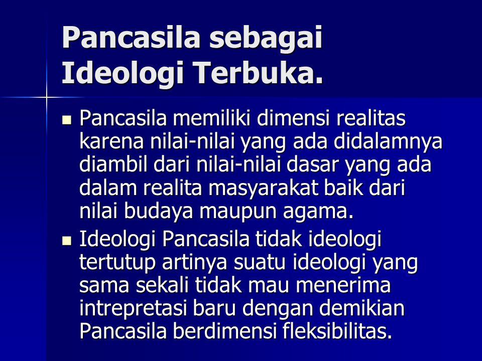Pancasila sebagai Ideologi Terbuka.
