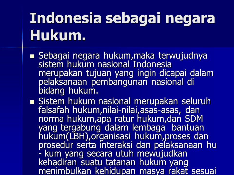 Indonesia sebagai negara Hukum.
