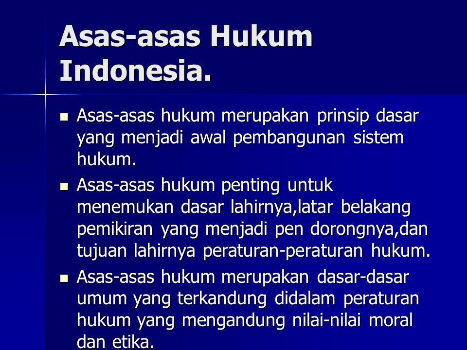 Asas-asas Hukum Indonesia.