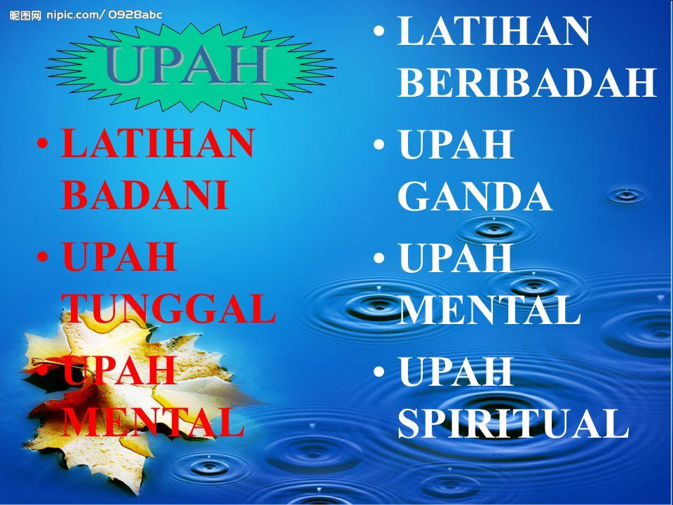 LATIHAN BERIBADAH UPAH GANDA UPAH MENTAL UPAH SPIRITUAL LATIHAN BADANI UPAH TUNGGAL UPAH MENTAL