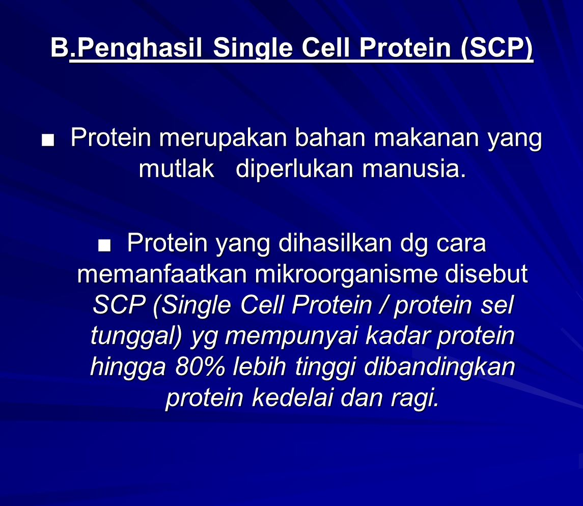 B.Penghasil Single Cell Protein (SCP)