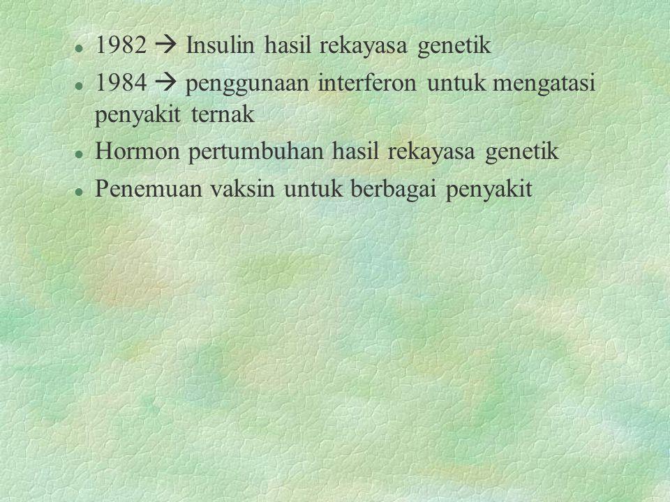 1982  Insulin hasil rekayasa genetik