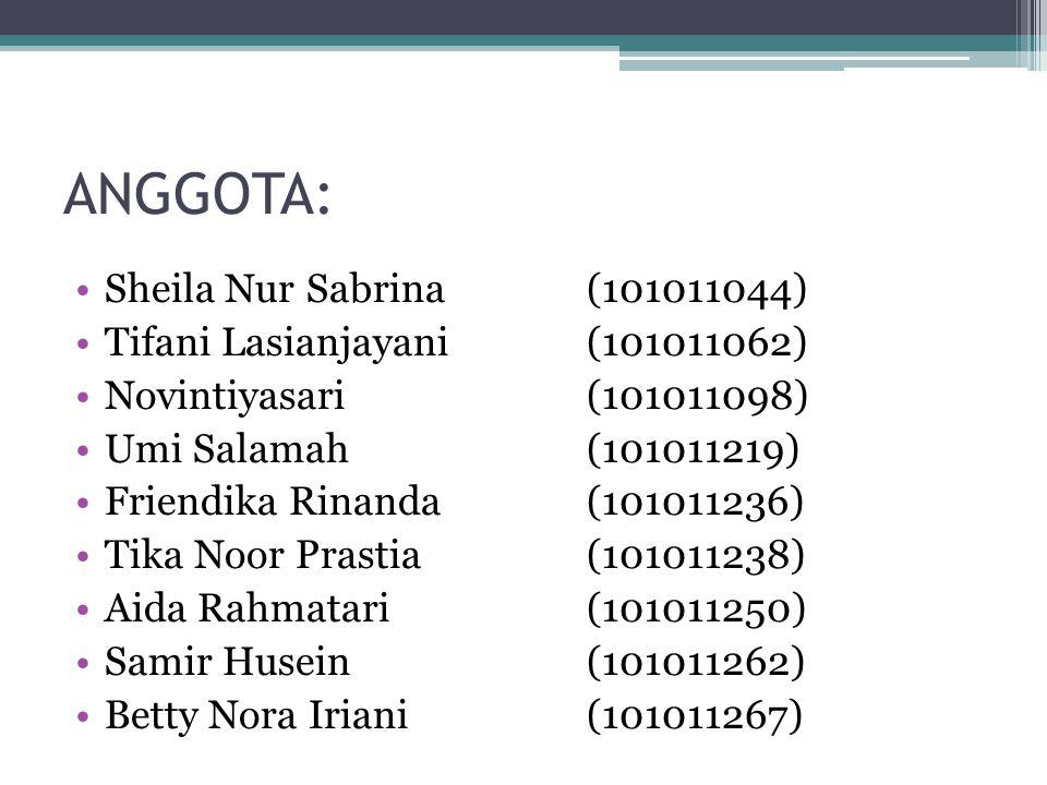 ANGGOTA: Sheila Nur Sabrina (101011044)