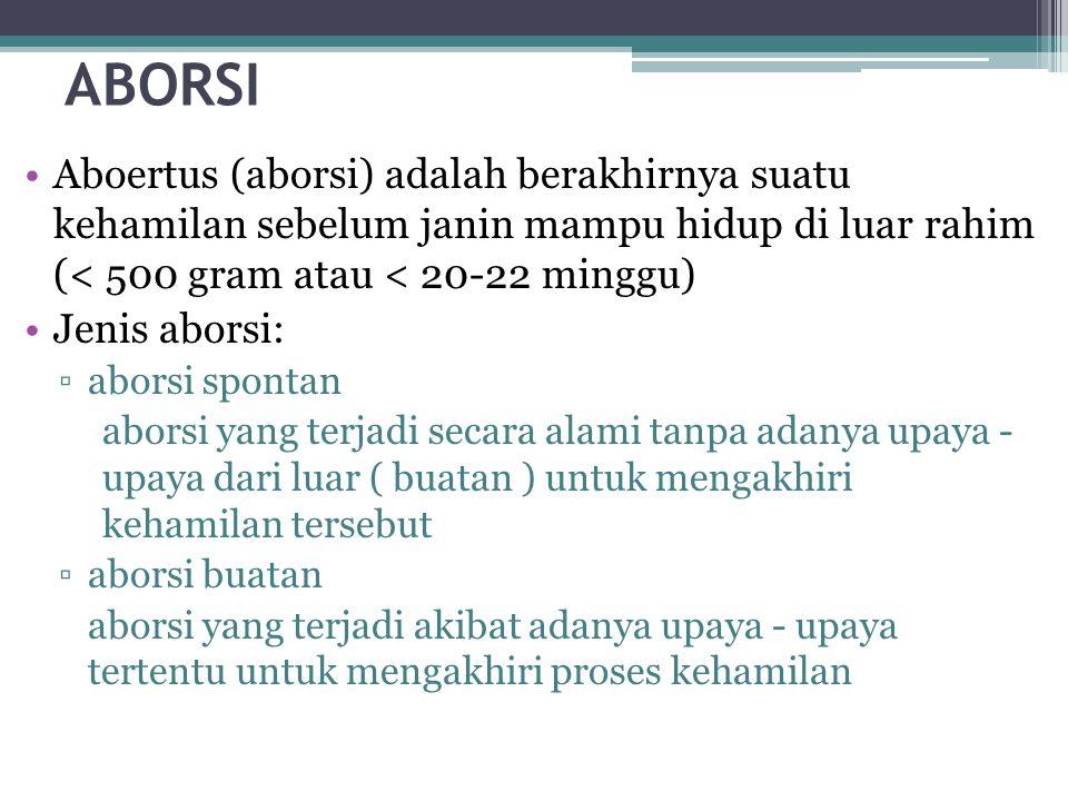 ABORSI Aboertus (aborsi) adalah berakhirnya suatu kehamilan sebelum janin mampu hidup di luar rahim (< 500 gram atau < 20-22 minggu)