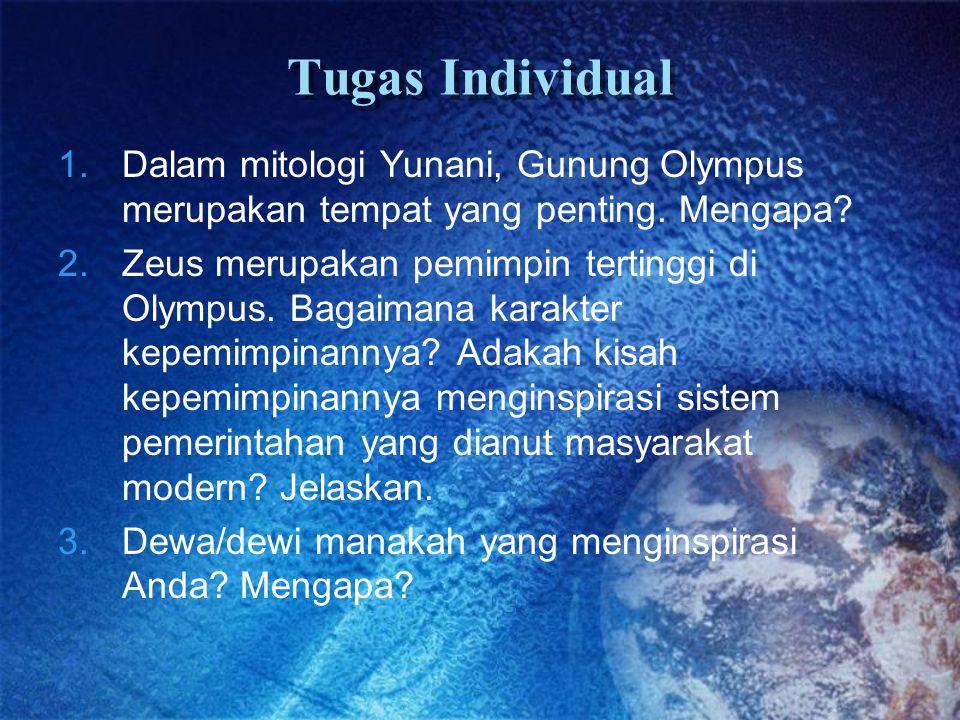 Tugas Individual Dalam mitologi Yunani, Gunung Olympus merupakan tempat yang penting. Mengapa