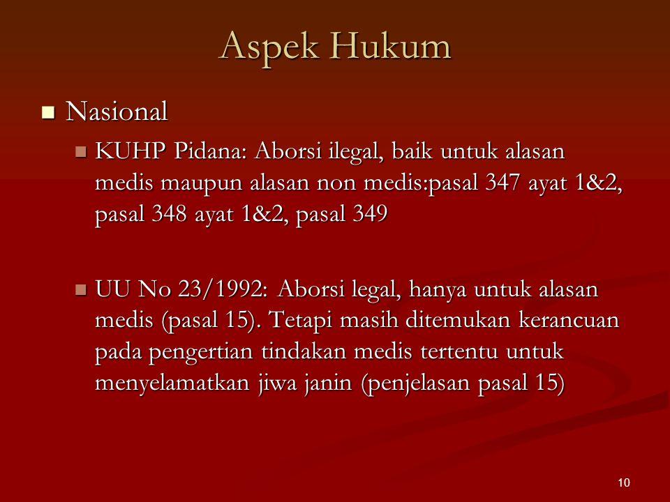 Aspek Hukum Nasional. KUHP Pidana: Aborsi ilegal, baik untuk alasan medis maupun alasan non medis:pasal 347 ayat 1&2, pasal 348 ayat 1&2, pasal 349.