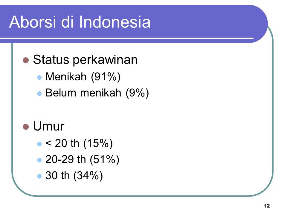 Aborsi di Indonesia Status perkawinan Umur Menikah (91%)