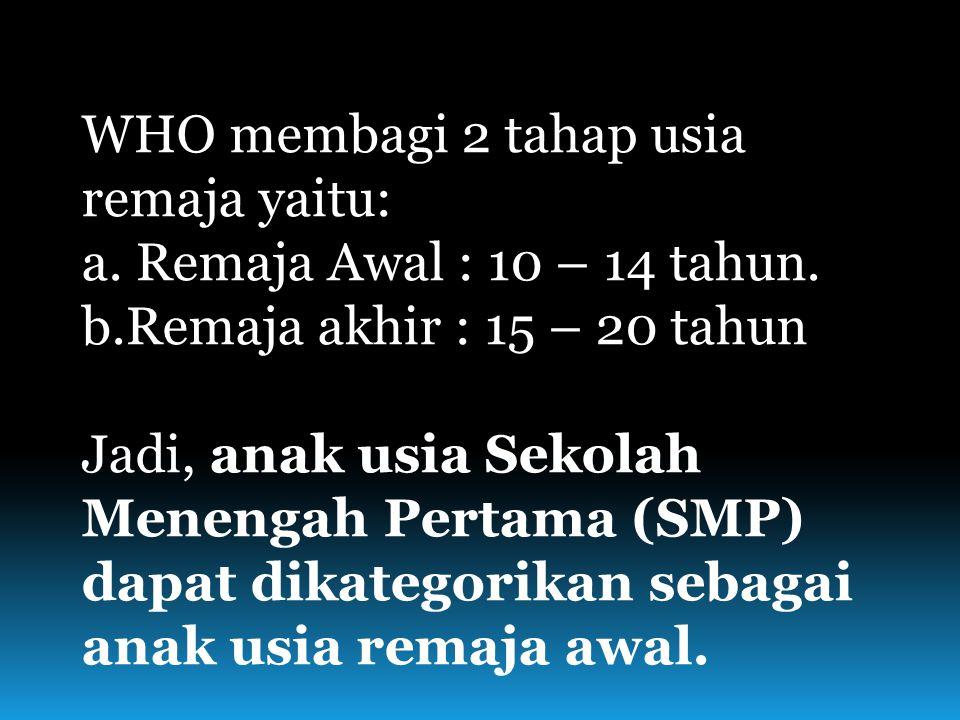 WHO membagi 2 tahap usia remaja yaitu: