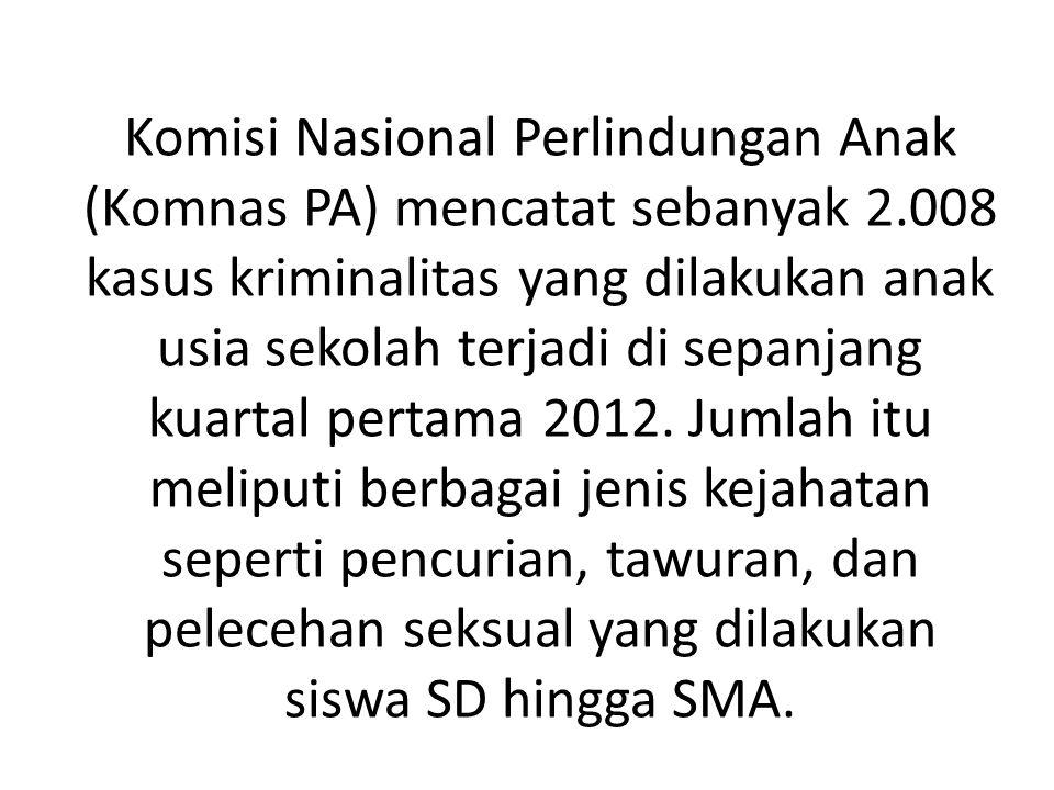 Komisi Nasional Perlindungan Anak (Komnas PA) mencatat sebanyak 2