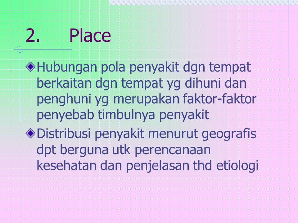 2. Place Hubungan pola penyakit dgn tempat berkaitan dgn tempat yg dihuni dan penghuni yg merupakan faktor-faktor penyebab timbulnya penyakit.