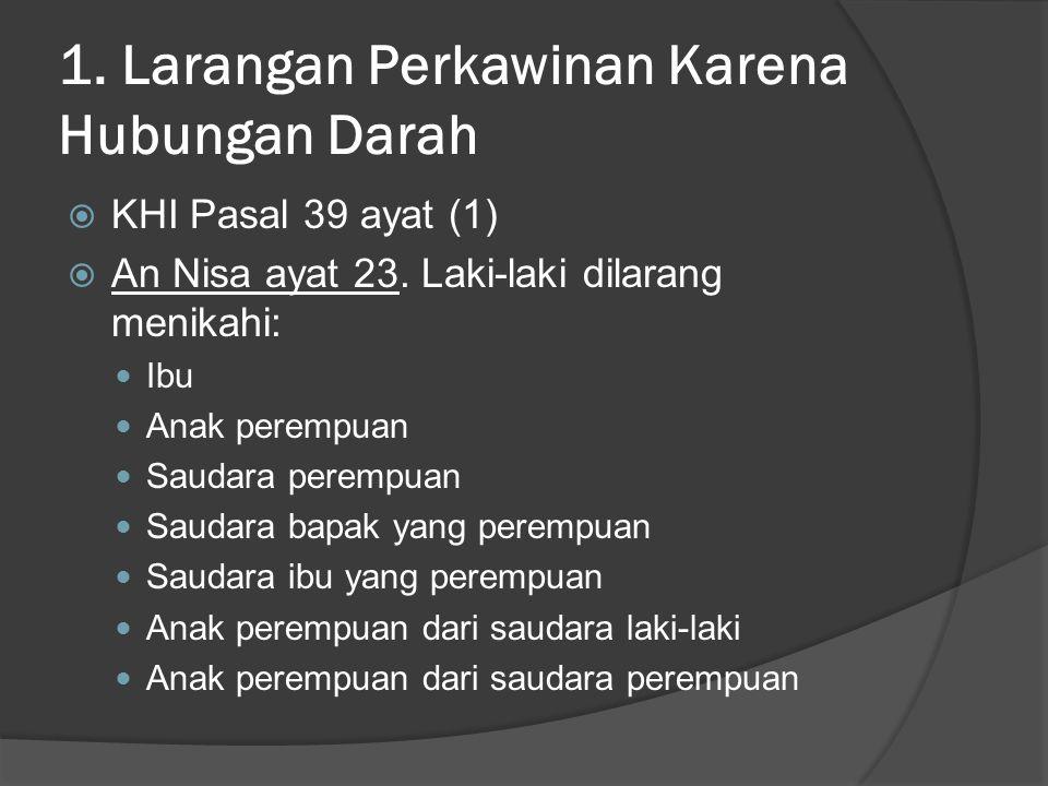 1. Larangan Perkawinan Karena Hubungan Darah