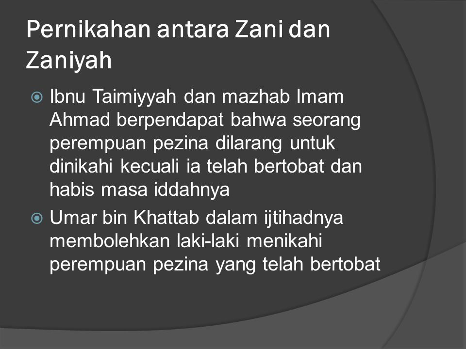 Pernikahan antara Zani dan Zaniyah
