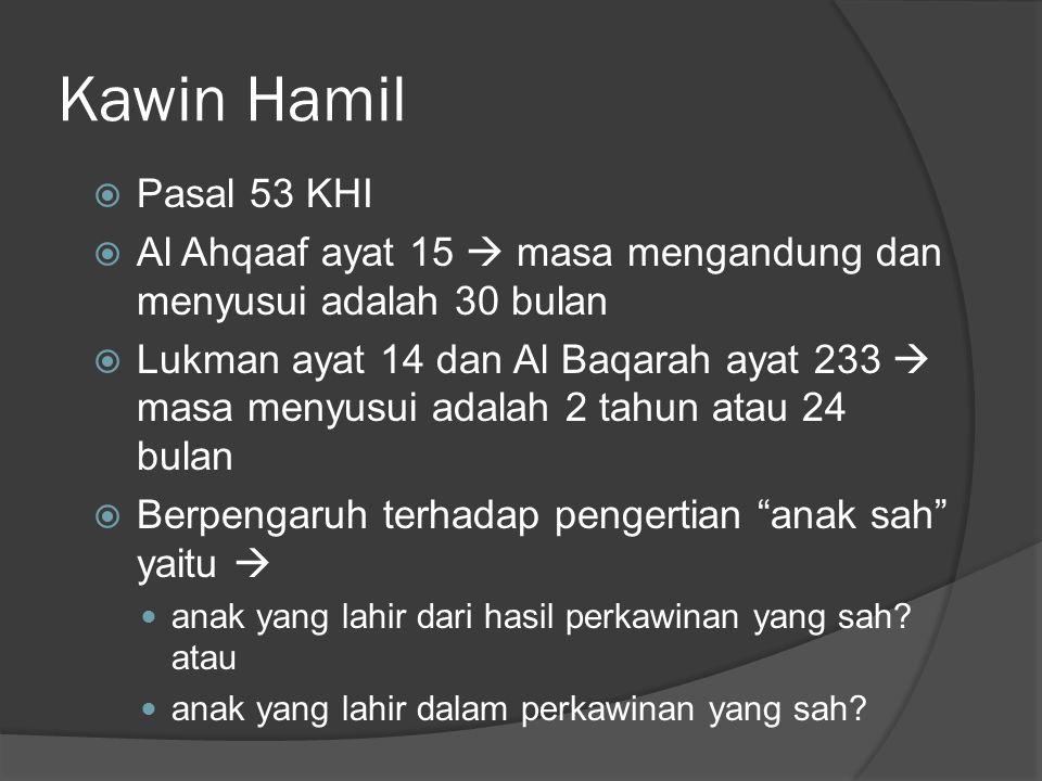Kawin Hamil Pasal 53 KHI. Al Ahqaaf ayat 15  masa mengandung dan menyusui adalah 30 bulan.
