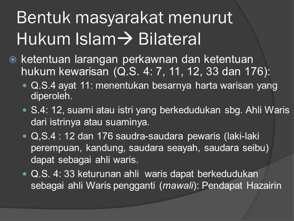 Bentuk masyarakat menurut Hukum Islam Bilateral