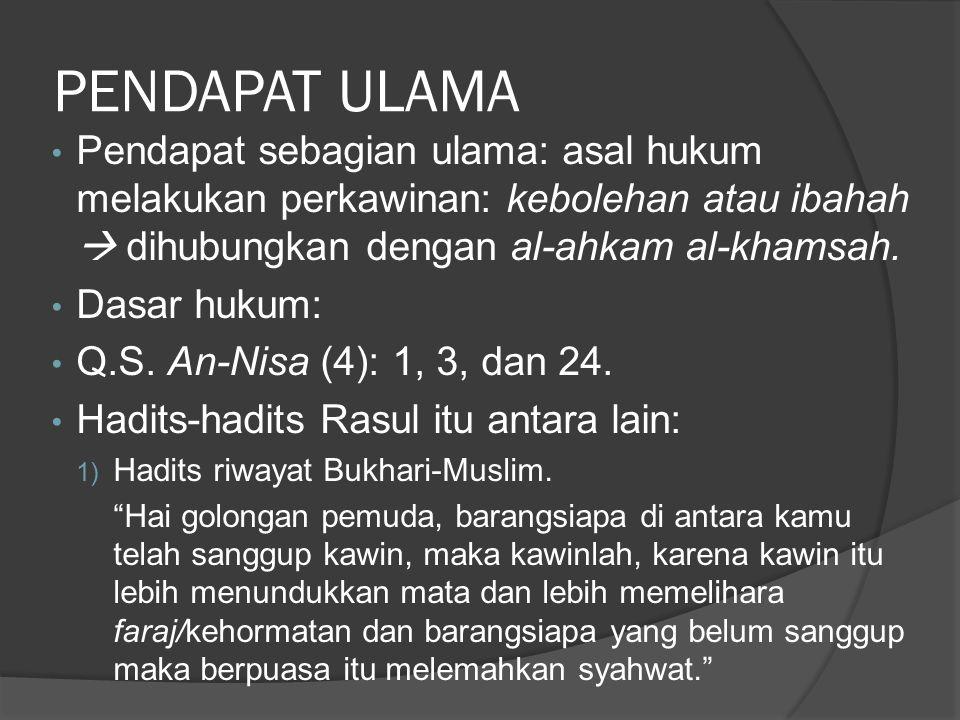 PENDAPAT ULAMA Pendapat sebagian ulama: asal hukum melakukan perkawinan: kebolehan atau ibahah  dihubungkan dengan al-ahkam al-khamsah.
