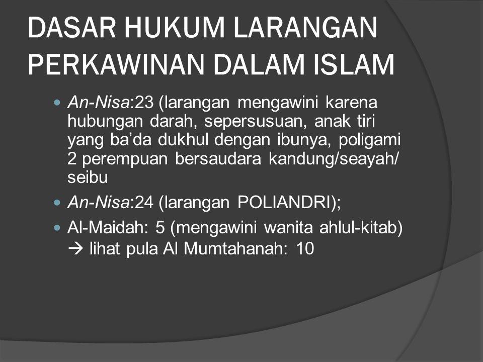 DASAR HUKUM LARANGAN PERKAWINAN DALAM ISLAM
