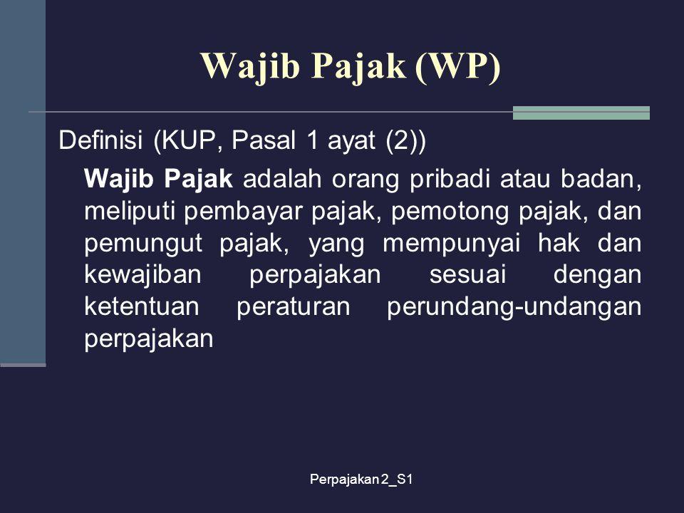 Wajib Pajak (WP) Definisi (KUP, Pasal 1 ayat (2))