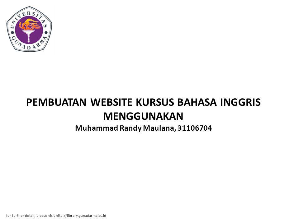 PEMBUATAN WEBSITE KURSUS BAHASA INGGRIS MENGGUNAKAN Muhammad Randy Maulana, 31106704