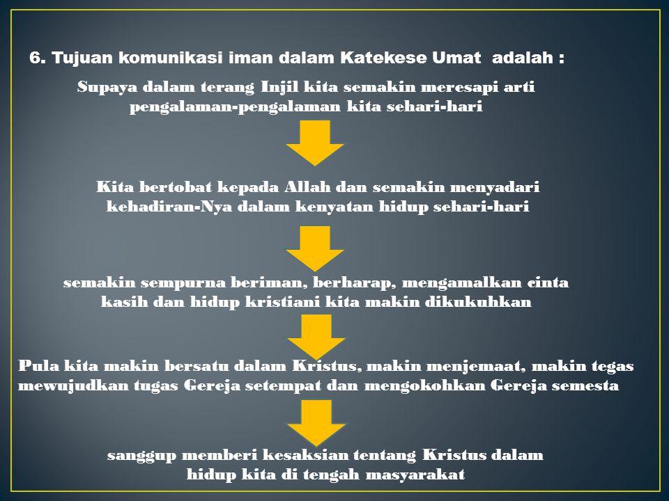 6. Tujuan komunikasi iman dalam Katekese Umat adalah :